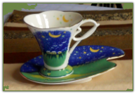 Moon & Stars porcelain teacup & saucer set
